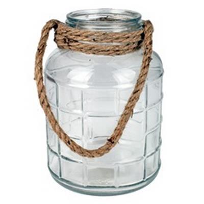 <h4>Vaas Cruz met touw glas Ø14.3xH20.5cm</h4>