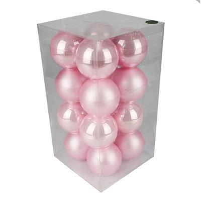 <h4>Boules de nöel en tube 80mm ass pink 16 pcs</h4>