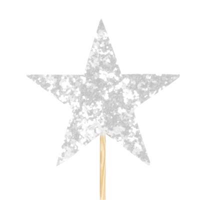 <h4>Pique star feutre 7x7cm +12cm bâton blanc</h4>