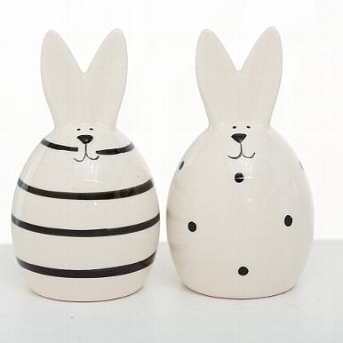 <h4>Figurine Friedo, 2 ass., Rabbit, H 11 cm, Stoneware, Black, Off-white stoneware colour-mix</h4>