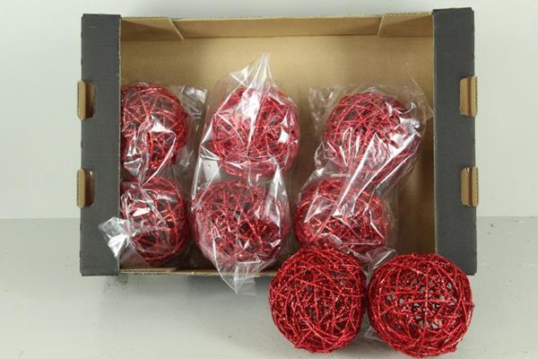 <h4>Bruce Ball 15cm Red Glit(2pc)</h4>