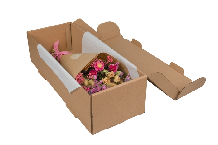 <h4>HAND TIED BOUQUET IN BOX PINK</h4>