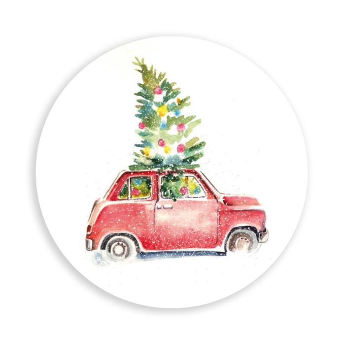 <h4>Kerst Sticker 40mm x100 Auto/boom</h4>