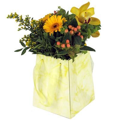 <h4>Sac Marble carton 12/12x15/15xH18cm jaune</h4>