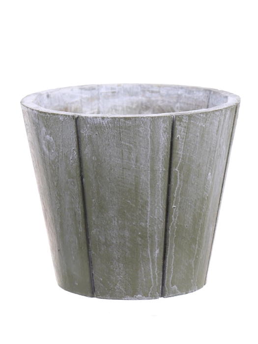 <h4>DF550090247 - Pot wood Arnelle d14xh12 green wash</h4>