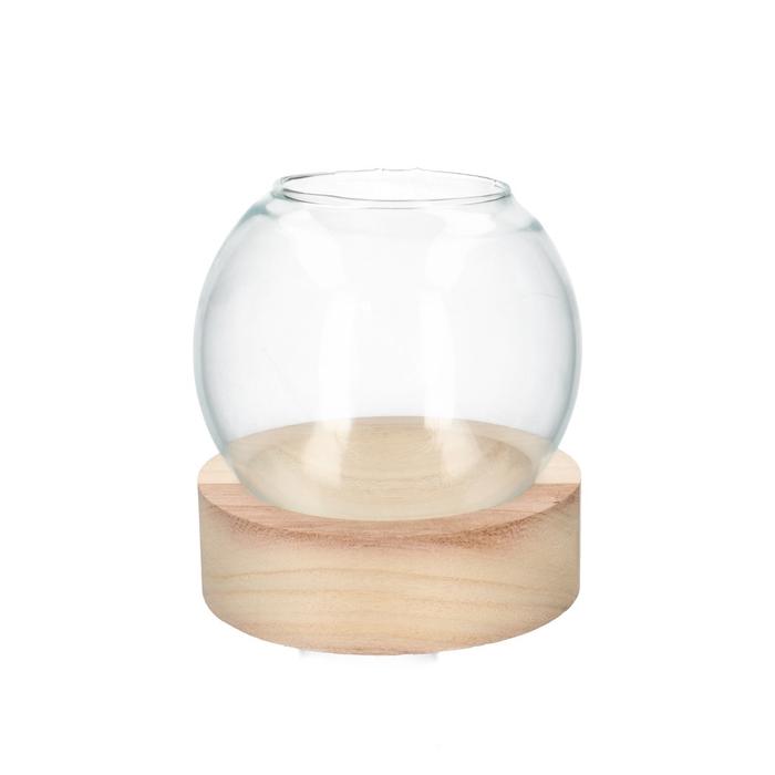 <h4>Glas Kogelvaas+voet hout d13*14cm</h4>