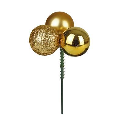 <h4>Boule de Noël 3x3cm sur tige 10cm ass or</h4>