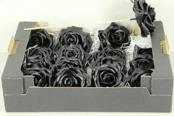 <h4>Wax Rose Black + Stk 30cm</h4>