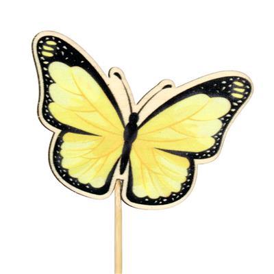 <h4>Pique papillon Single bois 6x7cm+12cm bâton jaune</h4>