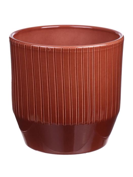 <h4>DF883748747 - Pot Pisa+lines d13.5xh13.2 brown glazed</h4>
