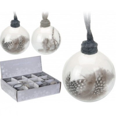 <h4>Christmas bauble Bal deco feather d80mm</h4>
