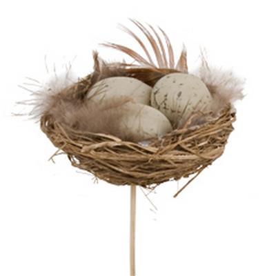 <h4>Pique oeufs pluviers dans nid 3x5+bâton 12cm nat.</h4>