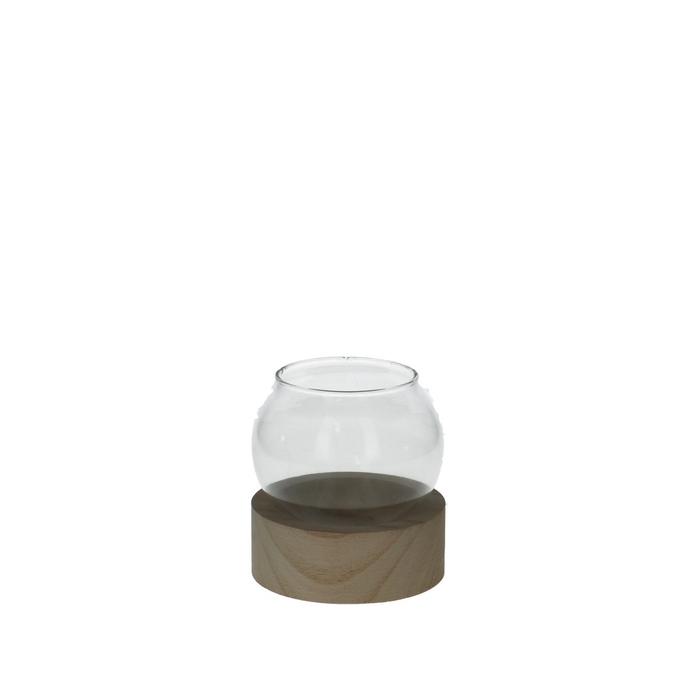 <h4>Glas Kogelvaas+voet hout d10*12cm</h4>