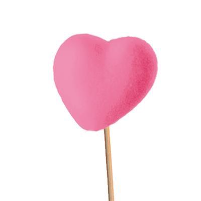 <h4>Cœur 5cm (feutre) sur tige 12cm rose</h4>