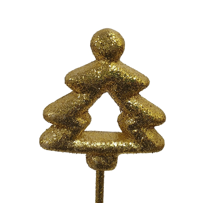 <h4>Styropor Christmass tree on stem Gold with glitter</h4>