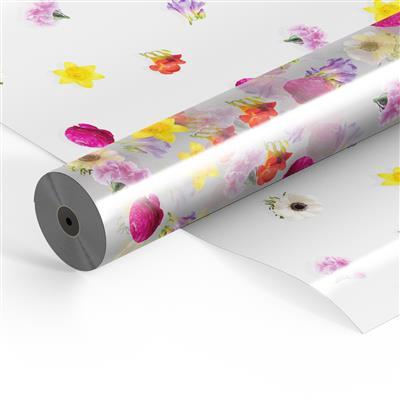 <h4>Flowerfilm on roll OPP25 60cm x 300mtr Flowermix</h4>