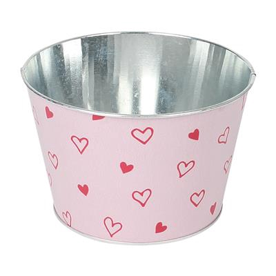 <h4>Schaal Love story zink Ø16xH10,5cm rood/roze</h4>