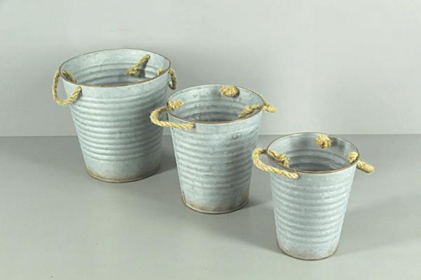 <h4>Planter Zinc Bucket Rope S/3</h4>