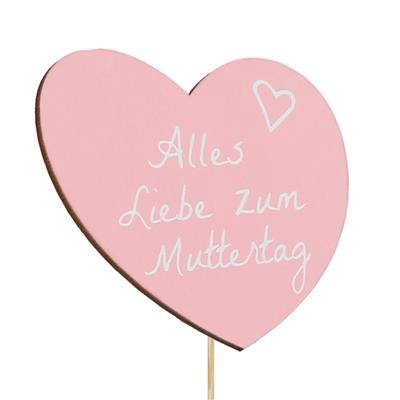 <h4>Bijsteker Muttertag hout 8x9cm+50cm stok roze</h4>