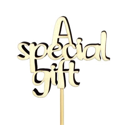 <h4>Bijsteker A Special Gift hout 8,5x7,5+50cm stok</h4>
