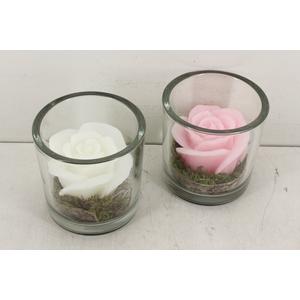 arr. SN E4 - Glas pot roos kaars roze/wit L