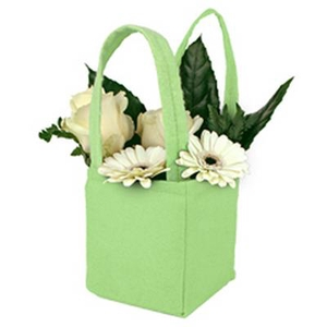 Bag Pastel felt 9,5x9xH11cm green