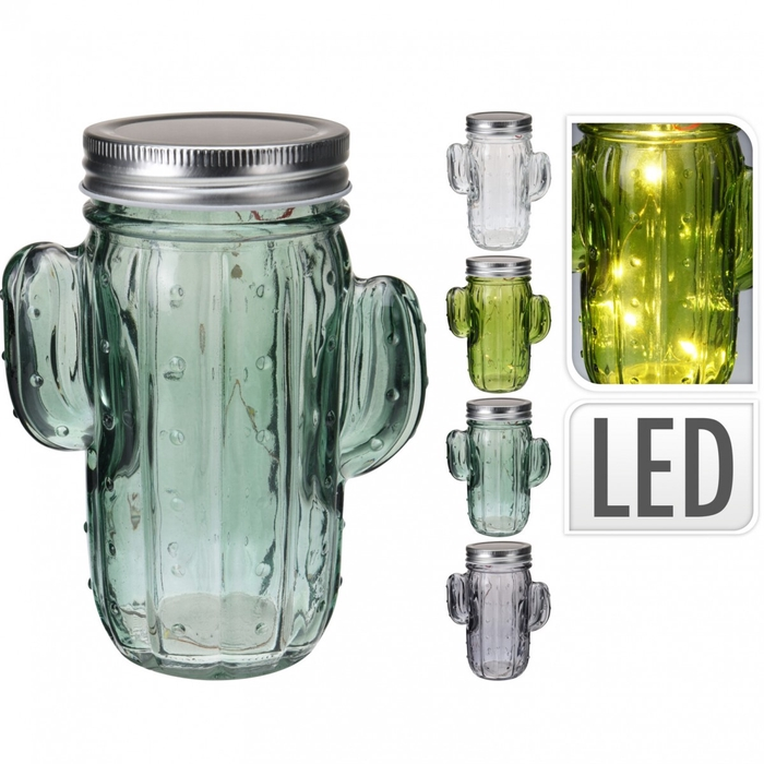 <h4>Glass colour LED cactus pot d11/7*15cm</h4>
