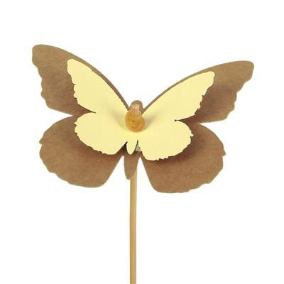 <h4>Pique Papillon kraft 7x9cm+bâton 12cm jaune</h4>