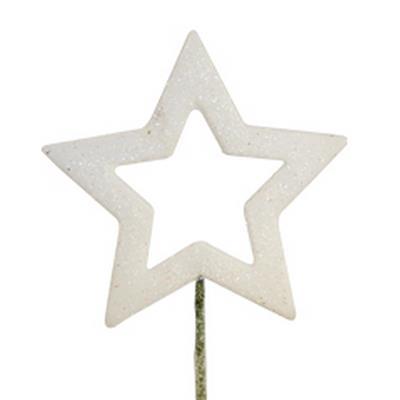 <h4>Open star de Noël sur tige 12cm blanc</h4>