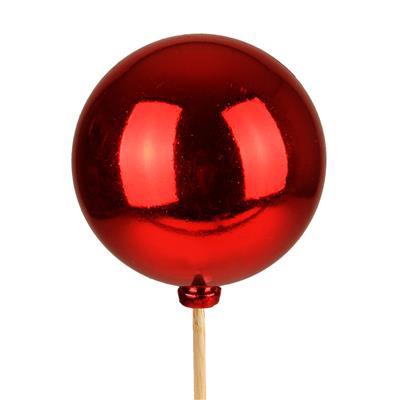 <h4>Bijsteker kerstbal glans Ø5cm+12cm stok rood</h4>