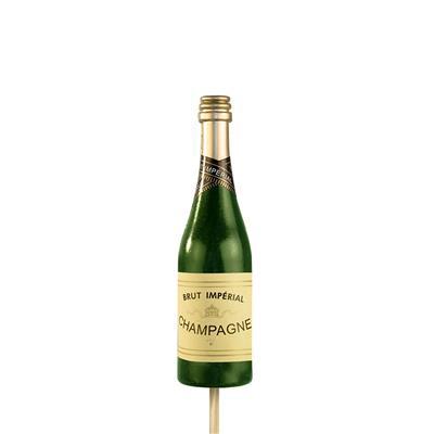 <h4>Bijsteker Champagnefles 11x3,5cm+12cm stok groen</h4>