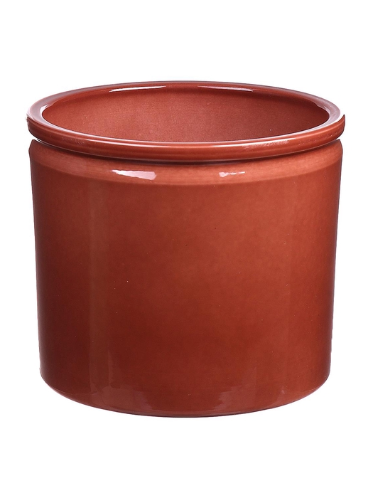 <h4>DF883748247 - Pot Lucca d14xh12.5 brown glaze</h4>