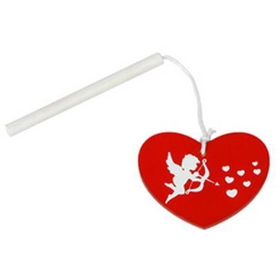 <h4>Hanger hart cupido hout 4,5cm+stok rood</h4>