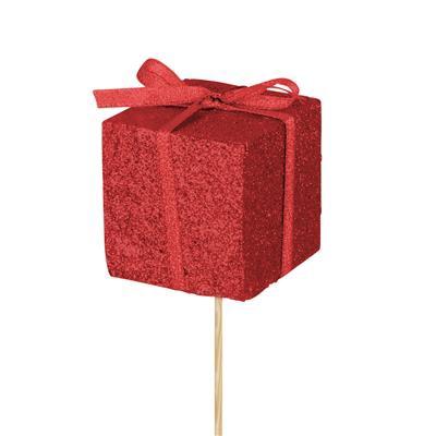 <h4>Bijsteker kado foam 5x5cm+50cm stok glitter rood</h4>