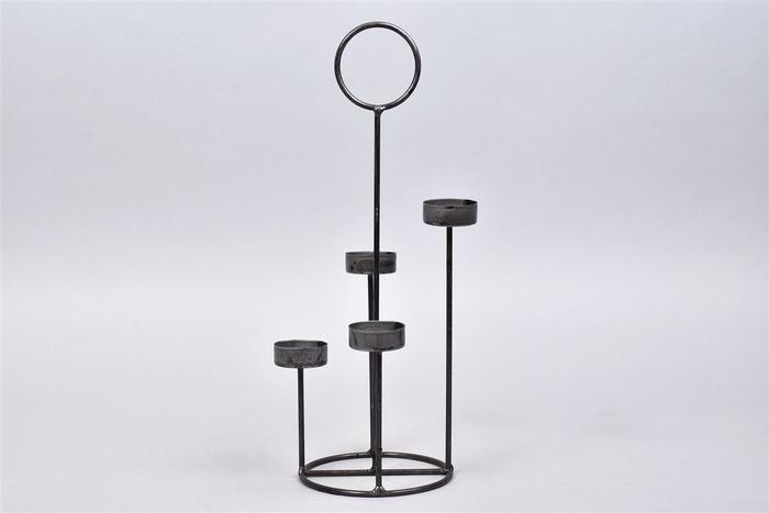 <h4>Kaarshouder T.light Steel 12x35cm 4 Cups</h4>