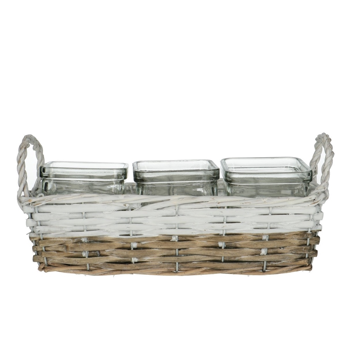 <h4>Glass Basket+3tray d7.5*7.5cm</h4>