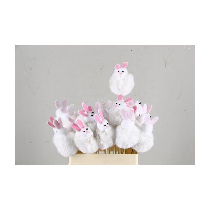 <h4>Stick Rabbit Fabric 7cm White</h4>