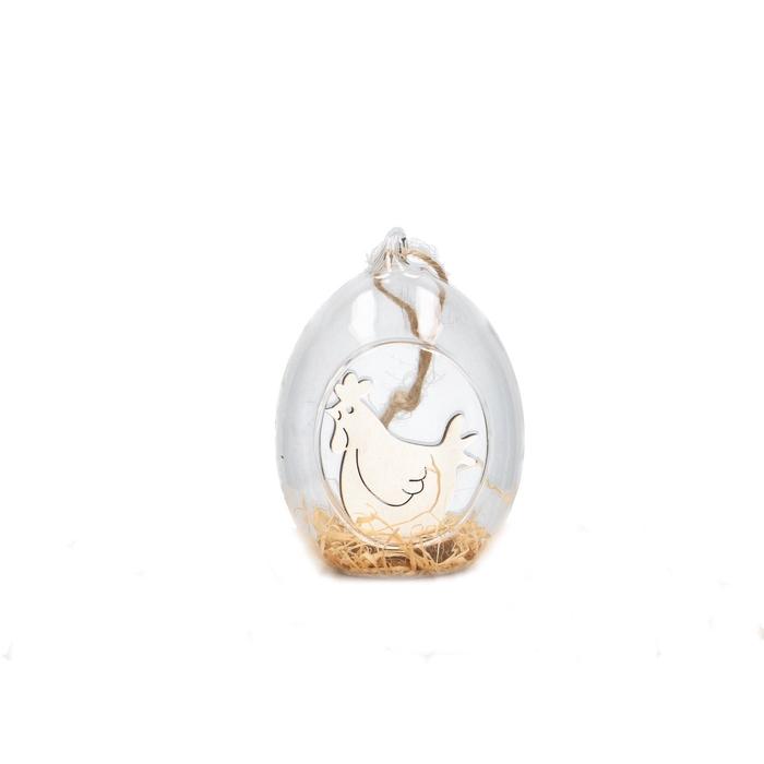 <h4>Easter Hanger glass chicken 6*9.5cm x3</h4>