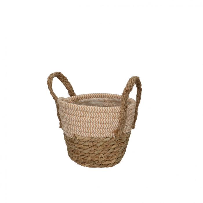 <h4>Baskets Straw+hessian pot d15.5*13cm</h4>