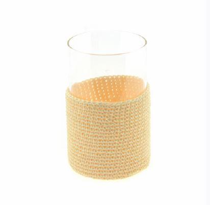 <h4>DF883819300 - Pot glass+fabric cream 15cm</h4>