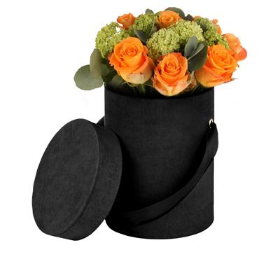 <h4>Hoedendoos Fabric karton+lint Ø13xH17cm zwart</h4>