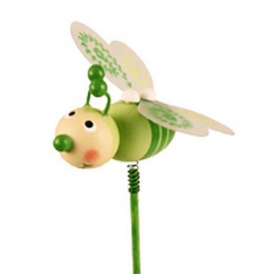 <h4>Pique Abeille bois 5,5x5,5cm+bâton 50cm vert</h4>