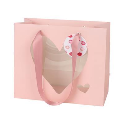 <h4>Sac le coeur + étiquette carton 24x11x20cm rose</h4>