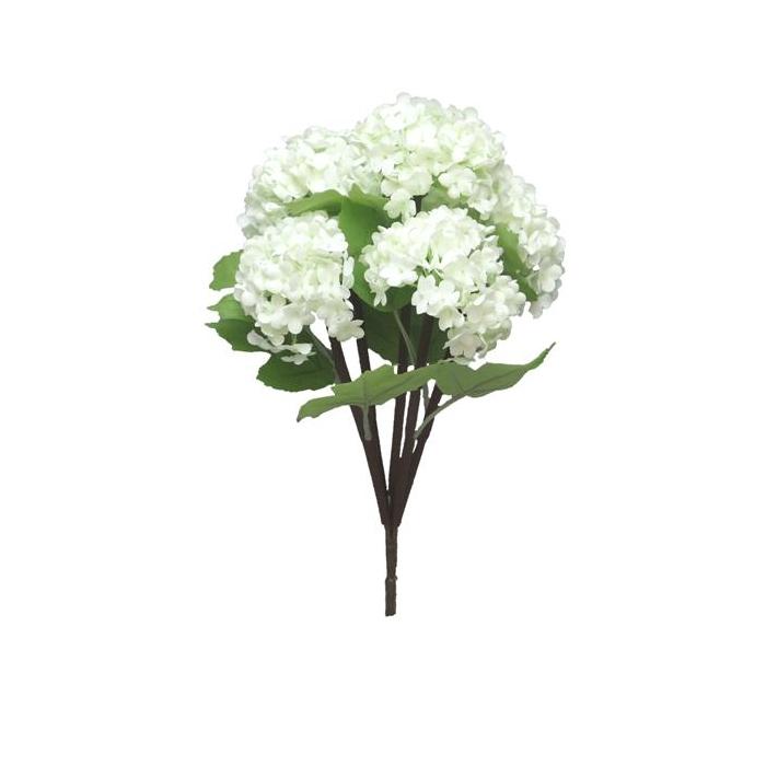 <h4>SILK FLOWERS - SNOWBALL BUSH X5 CREAM 30CM</h4>