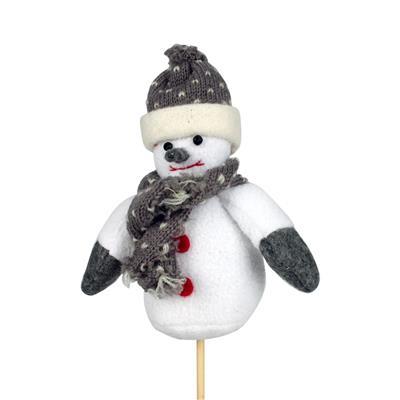 <h4>Bijsteker sneeuwpop pluche 15x12cm+12cm stok</h4>