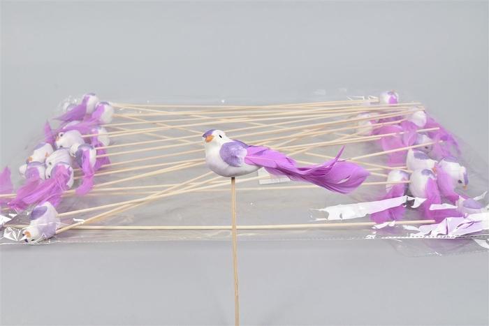<h4>Bijsteker Vogel Op Stok Lila P/25 11x4x50cm</h4>