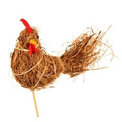 <h4>Pique Paille de poulet 8x13cm+bâton 12cm naturel</h4>