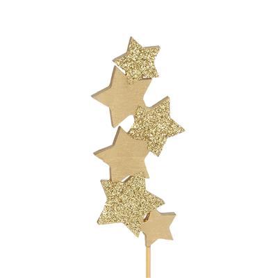 <h4>bijsteker Six Stars hout 10x4,5cm+50cm stok goud</h4>