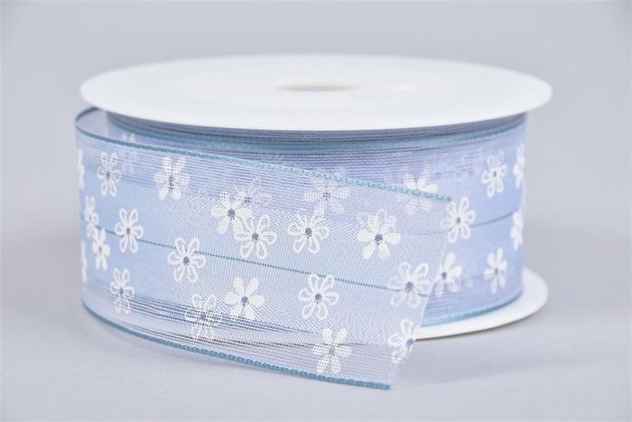 <h4>Lint Bloemen Blauw/wit 4cmx15m</h4>
