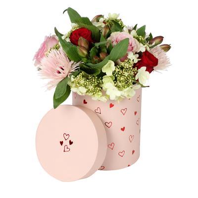 <h4>Carton à chapeau Love story Ø13xH17cm rose</h4>